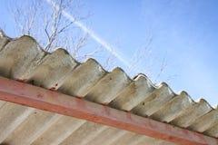 Опасная деталь крыши азбеста - отображайте с космосом экземпляра стоковые изображения rf