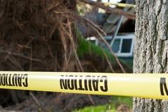 Опасная зона аварии дерева предосторежения Стоковое фото RF