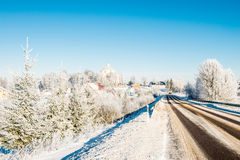 Опасная дорога зимы Стоковая Фотография