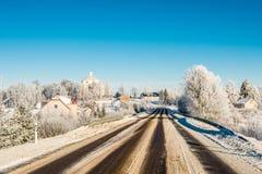 Опасная дорога зимы Стоковое Изображение RF