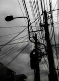 Опасное электричество привязывает опору Стоковая Фотография RF