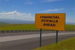 ` Опасностей ` дорожный знак финансового вперед желтый Стоковые Изображения