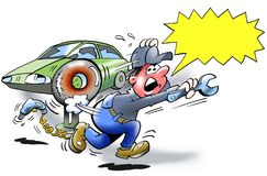 Опасность взрыва - взрыв автошины иллюстрация штока