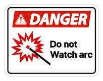 Опасность делает не изолят знака символа дуги дозора на белой предпосылке, иллюстрации вектора бесплатная иллюстрация