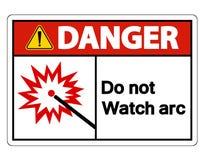 Опасность делает не изолят знака символа дуги дозора на белой предпосылке, иллюстрации вектора иллюстрация вектора