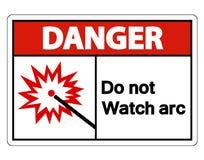 Опасность делает не изолят знака символа дуги дозора на белой предпосылке, иллюстрации вектора иллюстрация штока