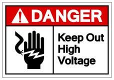 Опасность держит вне высоковольтный знак символа, иллюстрацию вектора, изолят на белом ярлыке предпосылки EPS10 бесплатная иллюстрация