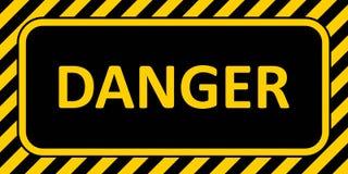 Опасность знамени предупредительного знака, с striped цветом опасности текста значка рамки горизонтальным желтым и черным иллюстрация вектора