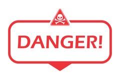 опасность Значок с значком опасности Плоская иллюстрация вектора на белой предпосылке иллюстрация штока