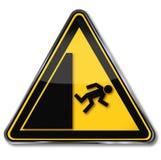 Опасность и предупреждающий риск падать стоковая фотография