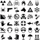 Опасность и предупреждающие иконы Стоковые Изображения RF