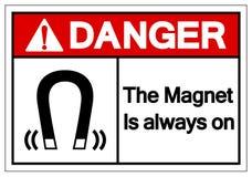 Опасность магнит всегда на знаке символа, иллюстрации вектора, изоляте на белом ярлыке предпосылки EPS10 иллюстрация штока