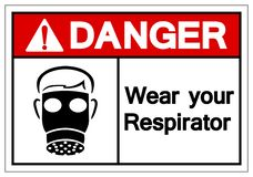Опасность носит ваш знак символа респиратора, иллюстрацию вектора, из иллюстрация вектора