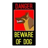 Опасность остерегается знака собаки с иллюстрацией вектора собаки чабана иллюстрация штока