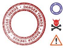 Опасность отклоняет водяной знак с поверхностью Grunge иллюстрация штока