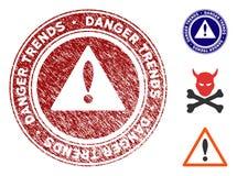 Опасность отклоняет предупреждающее уплотнение с поцарапанной текстурой бесплатная иллюстрация