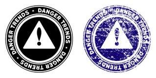 Опасность отклоняет штемпель предупреждения с влиянием дистресса бесплатная иллюстрация