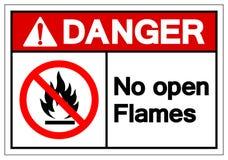 Опасность отсутствие знака символа открытых пламен, иллюстрации вектора, изолята на белом ярлыке предпосылки EPS10 иллюстрация вектора