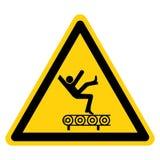 Опасность падения от изолята знака символа транспортера на белой предпосылке, иллюстрации вектора иллюстрация вектора