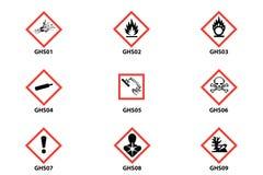 Опасность, предупреждение, значок clp внимания стоковое изображение