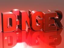 опасность слова 3D на красной предпосылке иллюстрация вектора