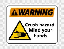 опасность толкотни символа предупреждая Разум ваши руки подписывают на прозрачной предпосылке бесплатная иллюстрация