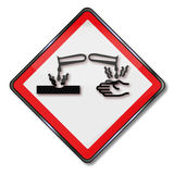 Опасность ушиба и повреждения к металлу кислотой Стоковая Фотография RF