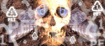 Опасность черепа бутылки ЛЮБИМЧИКА пластичная Стоковая Фотография RF