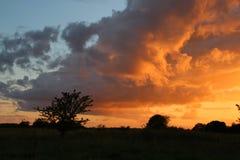 Опасно облака на заходе солнца Стоковая Фотография RF