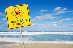 Опасный знак течений на пляже Стоковые Фотографии RF