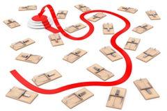 Опасный путь прицелиться концепция Путь стрелки к успеху через мам Стоковое Изображение