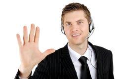 Оператор поддержки обслуживания клиента показывая приятеля руки стоковое изображение