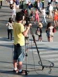 Оператор телевидения на работе Стоковые Изображения RF