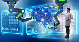 Операции на головном мозге сделанные робототехнической рукой стоковое изображение