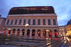 Опера Лиона к ноча, Франция Стоковые Изображения RF
