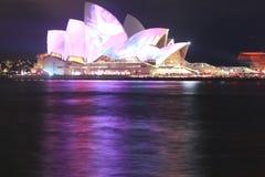 опера Сидней ночи дома Стоковая Фотография