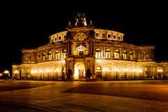 Опера Semper на ноче Стоковые Изображения RF