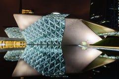 Оперный театр Гуанчжоу на ноче Стоковая Фотография