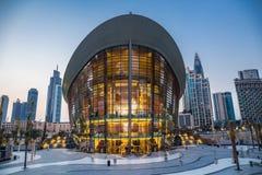 Оперный театр Дубай на ноче стоковая фотография rf