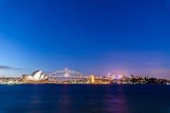 Оперный театр ночной жизни Сиднея Стоковые Фото