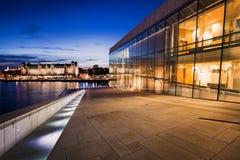 Оперный театр Осло на ноче Стоковые Изображения RF