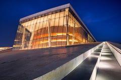 Оперный театр Осло на ноче Стоковая Фотография