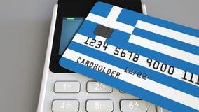 Оплата или стержень POS при кредитная карточка отличая флагом Греции Греческие розничные коммерция или банковская система схемати стоковое фото