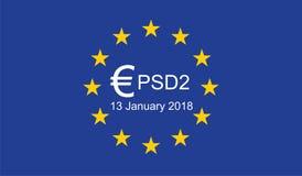 Оплата обслуживает директиву 2 PSD2 Стоковые Изображения