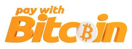 Оплата с дизайном перевода символа 3d Bitcoin Стоковые Фото