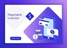 Оплаты концепций передвижные, личная защита данных Заголовок для вебсайта с smartphone и карточка банка на голубой предпосылке иллюстрация штока