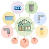 Оплачивать счеты общих назначений, спрятанные обязанности, мутноватое и unobvious расходование, плоскую диаграмму с домом и типы  иллюстрация вектора