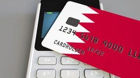 Оплачивать с кредитной карточкой с флагом Бахрейна Бахрейнские розничные продажи или 3D анимация банка схематическая акции видеоматериалы
