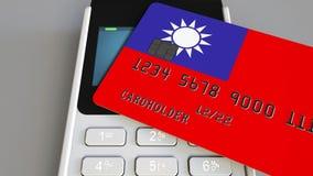 Оплачивать с кредитной карточкой с флагом Тайваня Тайваньские розничные продажи или 3D анимация банка схематическая сток-видео