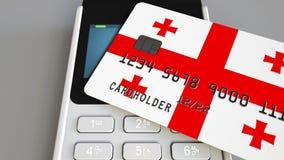 Оплачивать с пластиковой картой с флагом Грузии Грузинские розничные продажи или 3D анимация банка схематическая иллюстрация штока